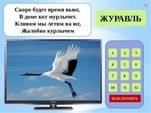 1 2 3 4 5 6 7 8 9 12 11 10 ВЫКЛЮЧИТЬ В певчем деле эта птица, Прямо скажем м