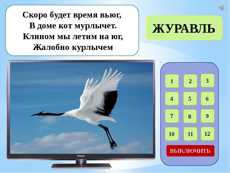 1 2 3 4 5 6 7 8 9 12 11 10 ВЫКЛЮЧИТЬ В певчем деле эта птица, Прямо скажем м...
