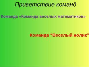 """Приветствие команд Команда «Команда веселых математиков» Команда """"Веселый но"""