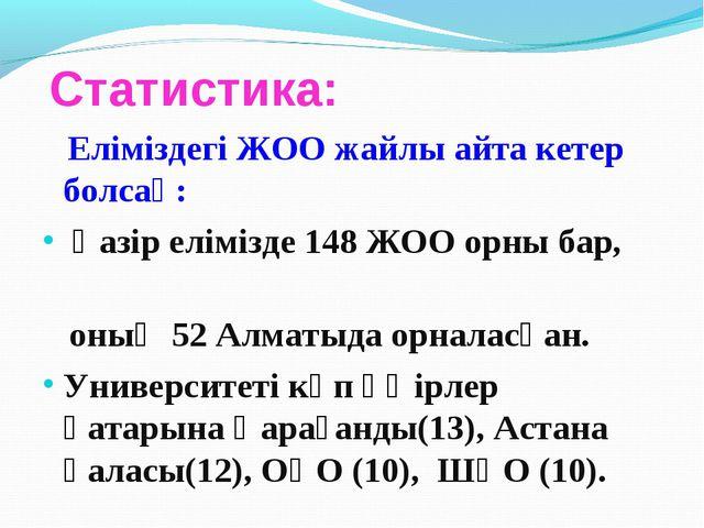 Статистика: Еліміздегі ЖОО жайлы айта кетер болсақ: Қазір елімізде 148 ЖОО о...
