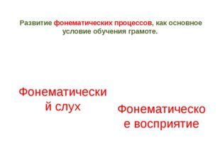 Развитие фонематических процессов, как основное условие обучения грамоте. Фон