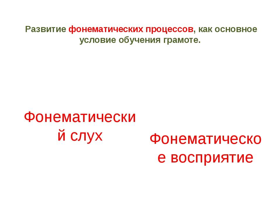 Развитие фонематических процессов, как основное условие обучения грамоте. Фон...