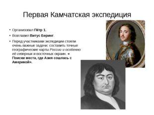 Первая Камчатская экспедиция Организовал Пётр 1. Возглавил Витус Беринг. Пере