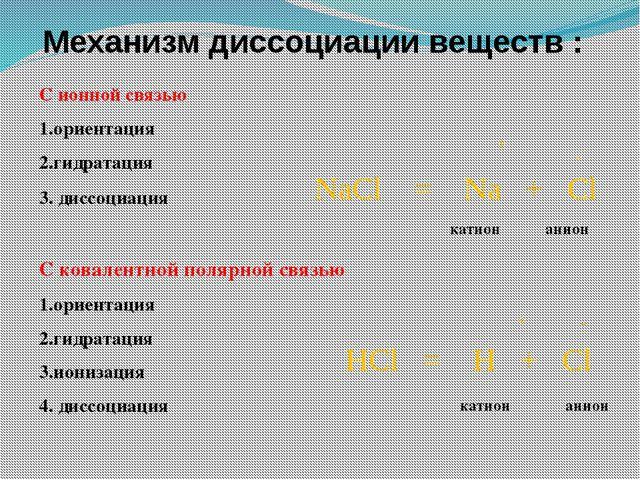 Механизм диссоциации веществ: С ионной связью Этапы диссоц. 1.ориентация 2.ги...
