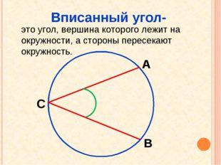 Вписанный угол- это угол, вершина которого лежит на окружности, а стороны пер