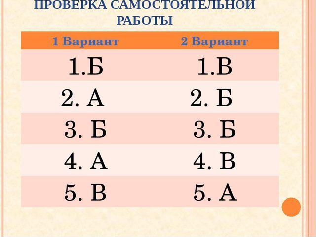 ПРОВЕРКА САМОСТОЯТЕЛЬНОЙ РАБОТЫ 1 Вариант2 Вариант БВ 2. А 2. Б 3. Б3. Б...