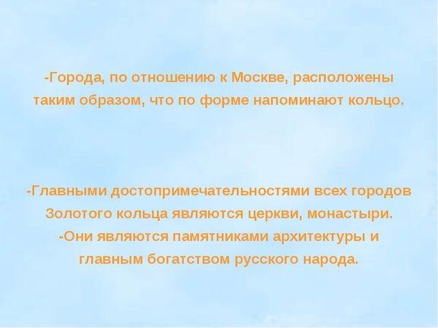 -Города, по отношению к Москве, расположены таким образом, что по форме напом...