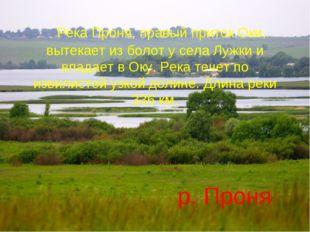 Река Проня, правый приток Оки, вытекает из болот у села Лужки и впадает в