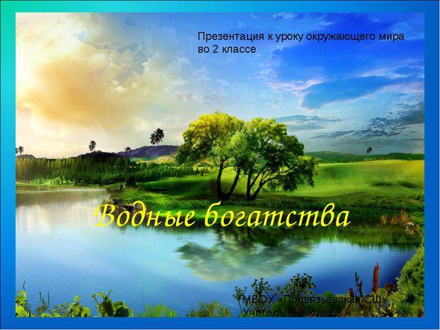 Водные богатства Презентация к уроку окружающего мира во 2 классе МБОУ «Подвя...