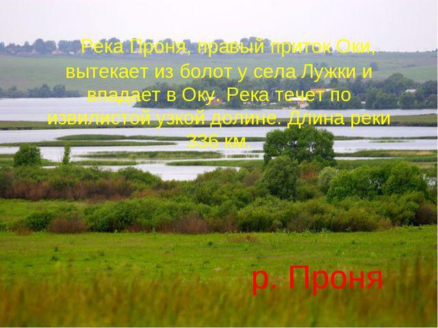 Река Проня, правый приток Оки, вытекает из болот у села Лужки и впадает в...