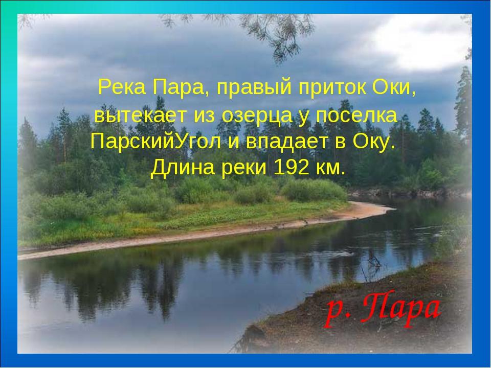 Река Пара, правый приток Оки, вытекает из озерца у поселка ПарскийУгол и в...