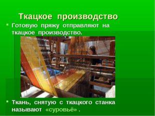 Ткацкое производство Готовую пряжу отправляют на ткацкое производство. Ткань,