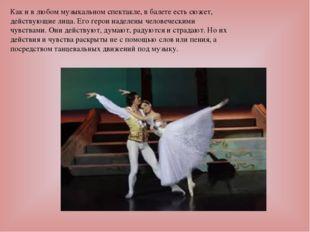Как и в любом музыкальном спектакле, в балете есть сюжет, действующие лица. Е