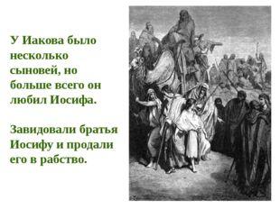 У Иакова было несколько сыновей, но больше всего он любил Иосифа. Завидовали