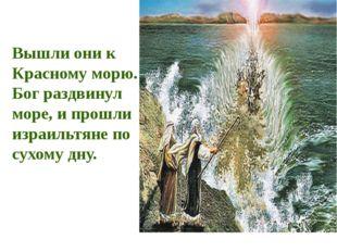 Вышли они к Красному морю. Бог раздвинул море, и прошли израильтяне по сухому