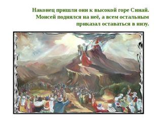 Наконец пришли они к высокой горе Синай. Моисей поднялся на неё, а всем остал