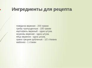 Ингредиенты для рецепта говядина вареная - 200 грамм грибы припущенные - 100