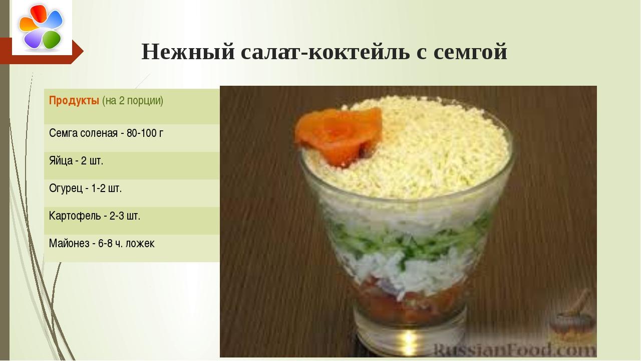 Нежный салат-коктейль с семгой Продукты(на 2 порции) Семга соленая - 80-100...