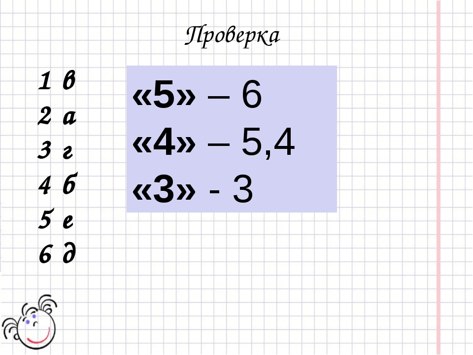 Проверка 1 в 2 а 3 г 4 б 5 е 6 д «5» – 6 «4» – 5,4 «3» - 3