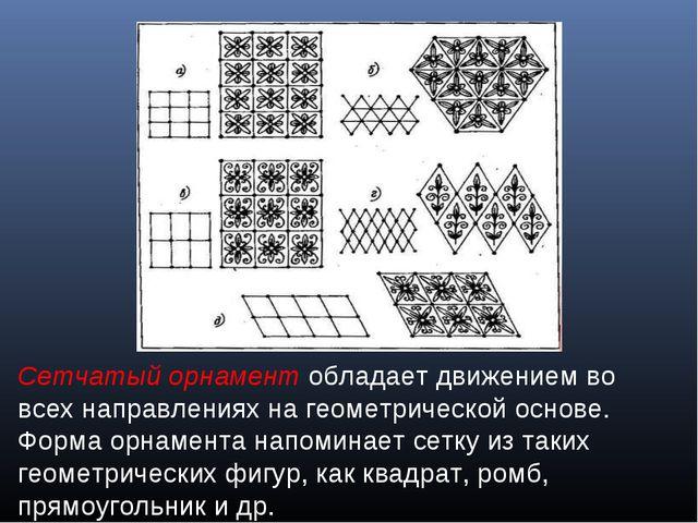 Сетчатый орнамент обладает движением во всех направлениях на геометрической о...