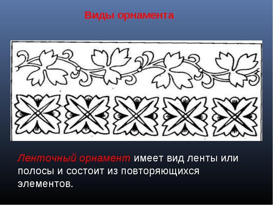 Виды орнамента Ленточный орнамент имеет вид ленты или полосы и состоит из пов...