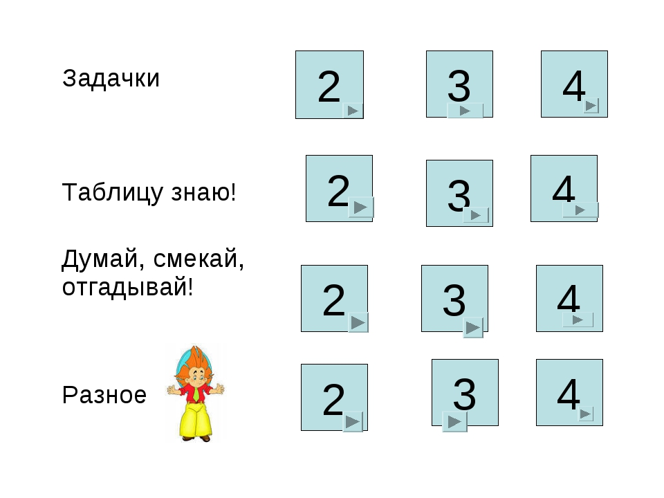 2 4 2 3 3 2 4 4 3 2 3 4 Задачки  Таблицу знаю! Думай, смекай, отгадывай...
