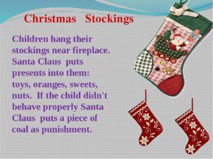 Christmas Stockings Children hang their stockings near fireplace. Santa Clau