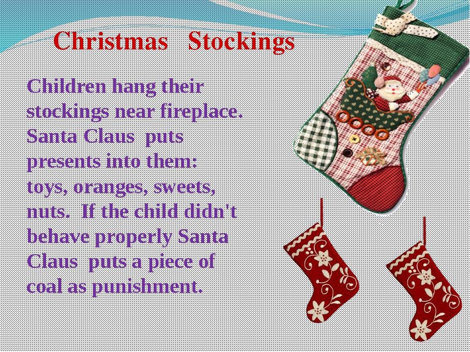 Christmas Stockings Children hang their stockings near fireplace. Santa Clau...