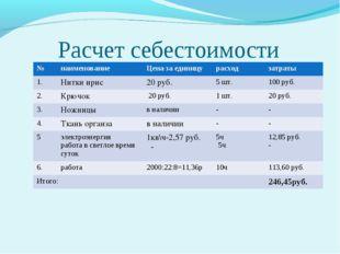 Расчет себестоимости №наименованиеЦена за единицурасходзатраты 1.Нитки и
