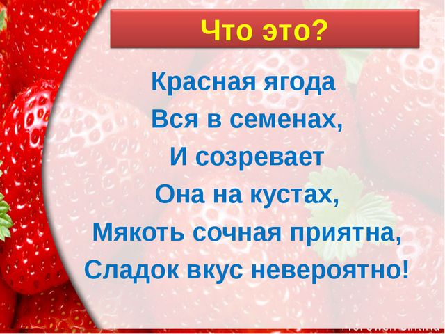 Красная ягода Вся в семенах, И созревает Она на кустах, Мякоть сочная приятна...