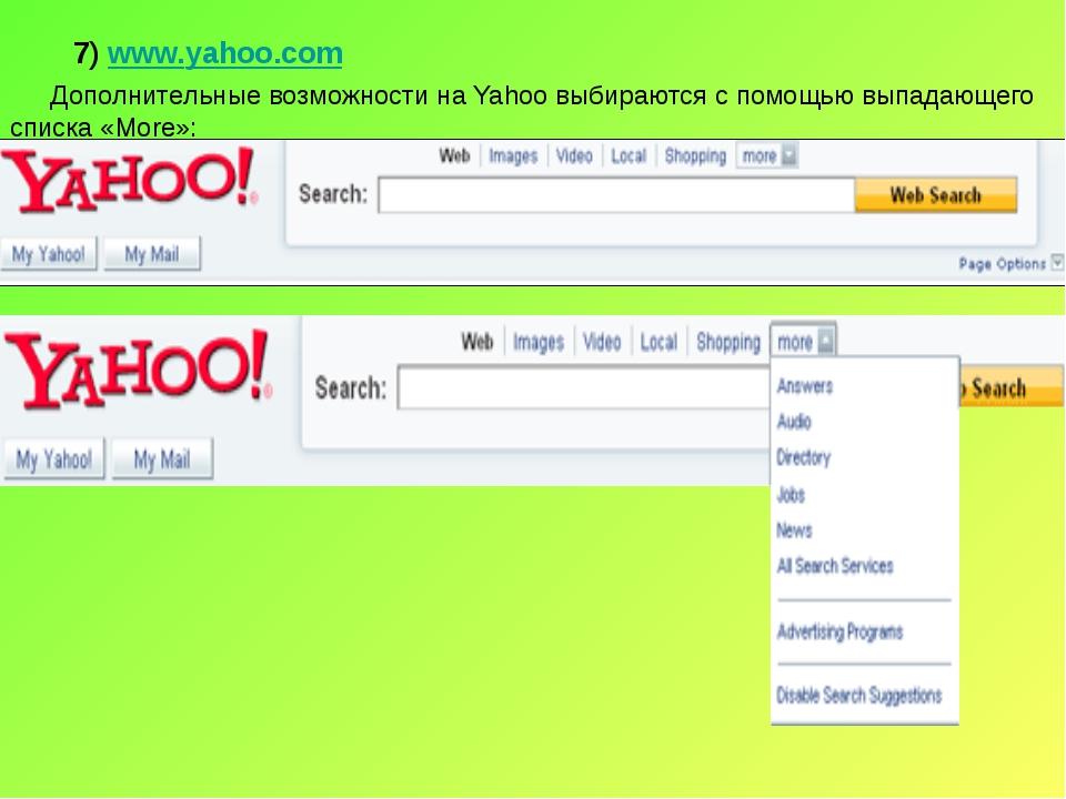 7) www.yahoo.com Дополнительные возможности на Yahoo выбираются с помощью вып...