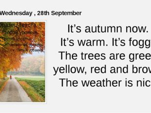 Wednesday , 28th September It's autumn now. It's warm. It's foggy. The trees