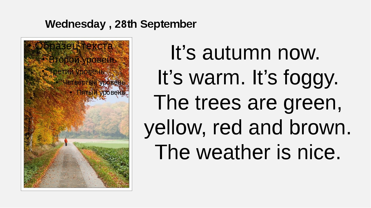 Wednesday , 28th September It's autumn now. It's warm. It's foggy. The trees...