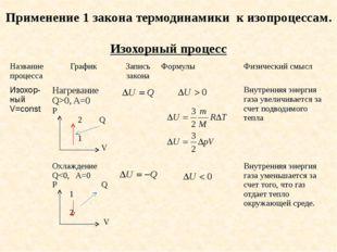 Применение 1 закона термодинамики к изопроцессам. Изохорный процесс Название
