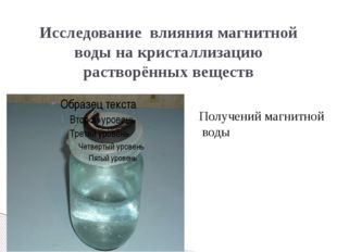 Исследование влияния магнитной воды на кристаллизацию растворённых веществ По