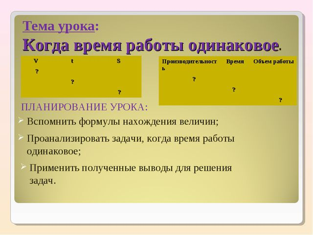 Тема урока: Когда время работы одинаковое. ПЛАНИРОВАНИЕ УРОКА: Вспомнить форм...