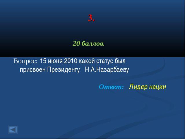 3. 20 баллов. Вопрос: 15 июня 2010 какой статус был присвоен Президенту Н.А.Н...