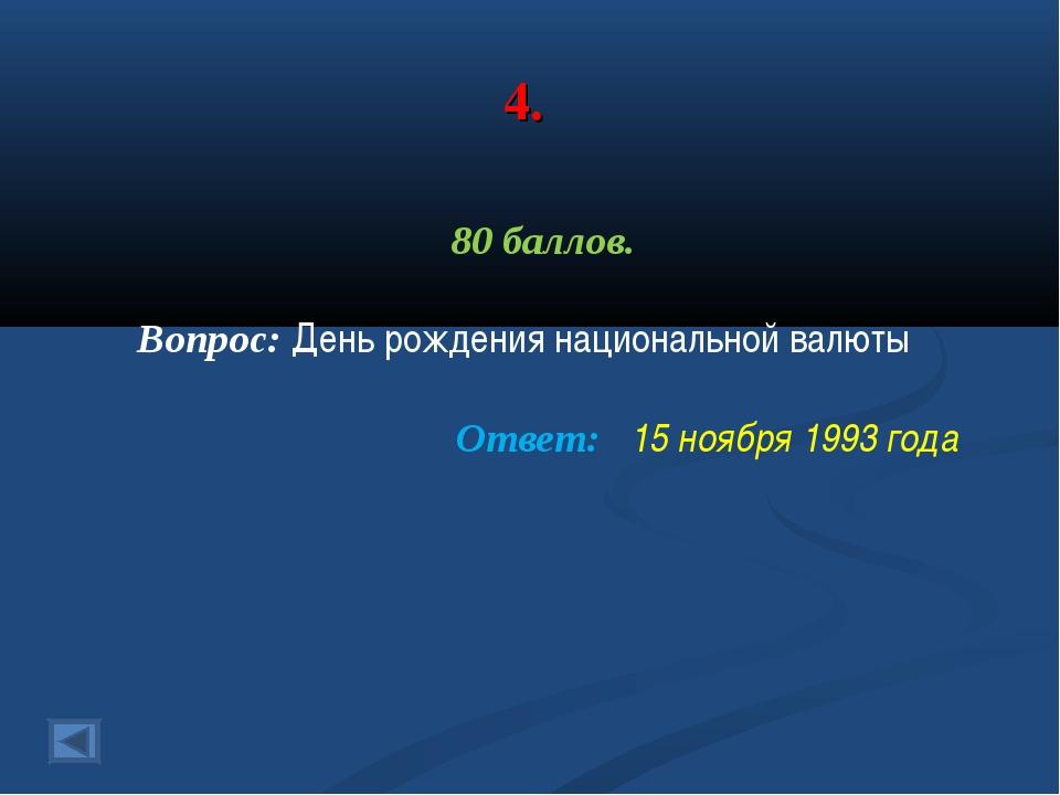 4. 80 баллов. Вопрос: День рождения национальной валюты Ответ: 15 ноября 1993...