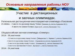 Основные направления работы НОУ Участие в дистанционных и заочных олимпиадах.
