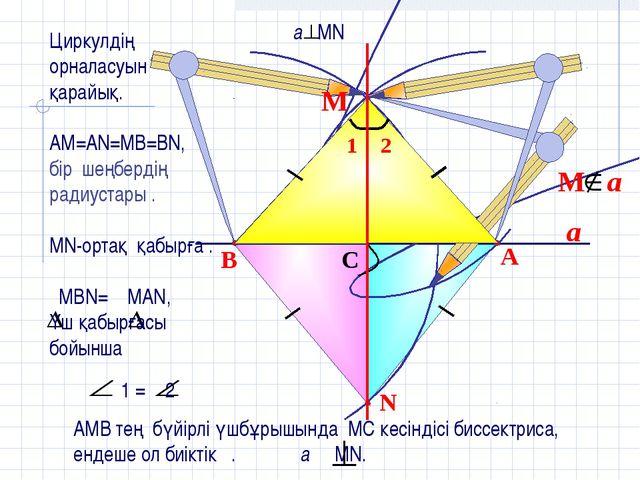 a N B A C М Циркулдің орналасуын қарайық. АМ=АN=MB=BN, бір шеңбердің радиуста...