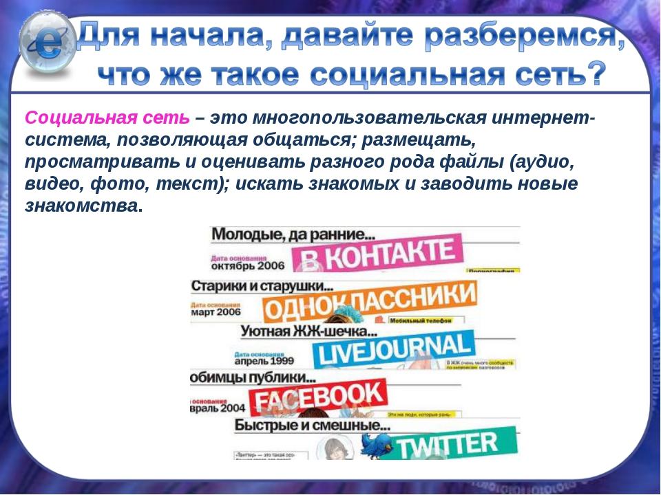 Социальная сеть – это многопользовательская интернет-система, позволяющая общ...