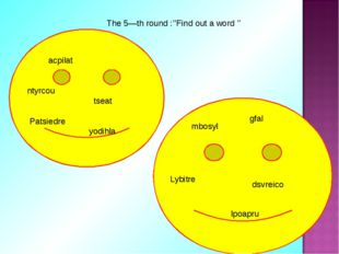 The 5—th round :''Find out a word '' acpilat ntyrcou tseat Patsiedre yodihla