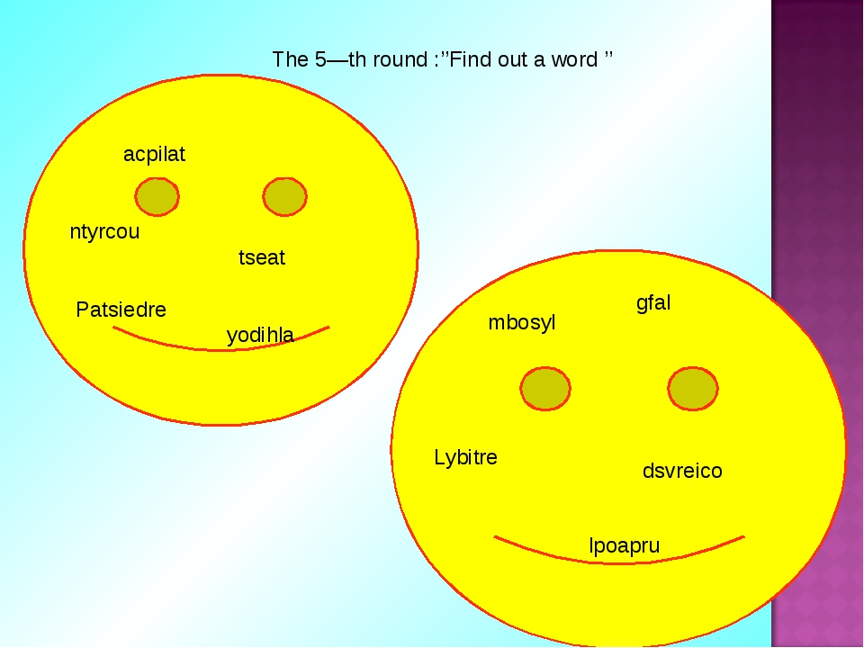The 5—th round :''Find out a word '' acpilat ntyrcou tseat Patsiedre yodihla...