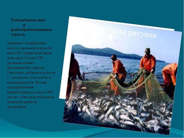 Рыбодобываю-щая и рыбообрабатывающая отрасль Занимает лидирующее место в пром...