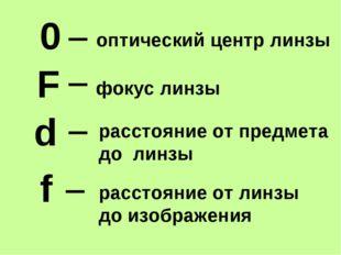 F d f фокус линзы расстояние от предмета до линзы расстояние от линзы до изоб