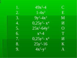 1.49х2-4С 2.1-4х2Е 3.9у2-4х2М 4.0,25у2- х4И 5.25х2-64у2О 6.х4-4Т