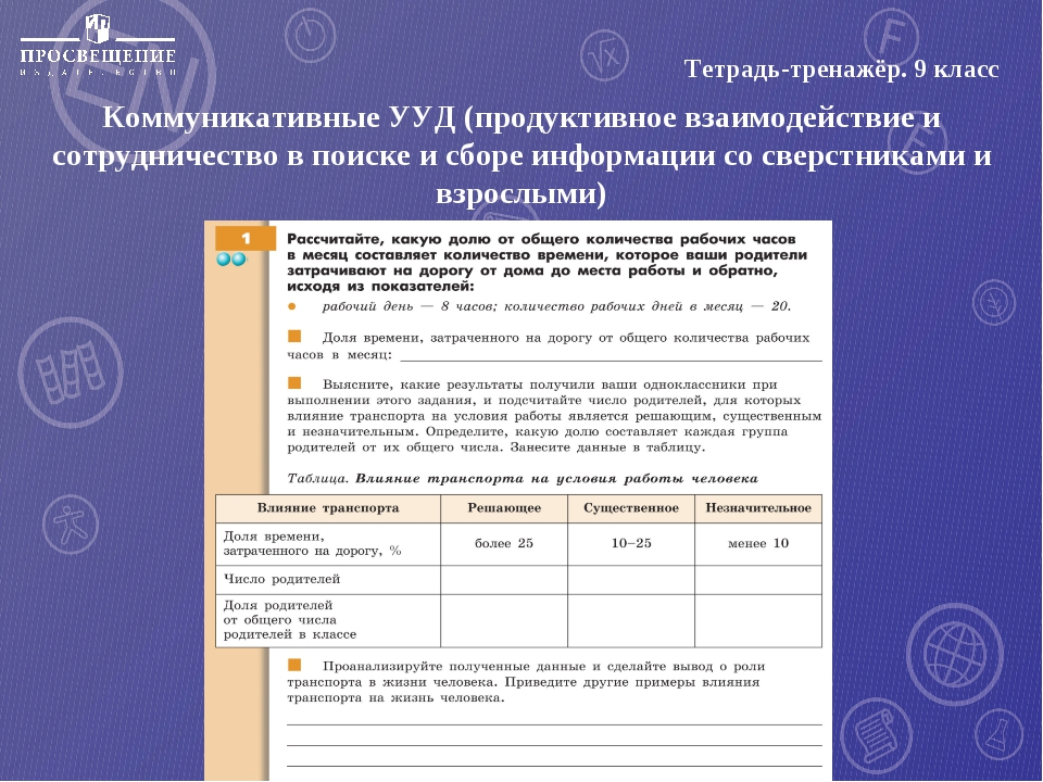 Тетрадь-тренажёр. 9 класс Коммуникативные УУД (продуктивное взаимодействие и...
