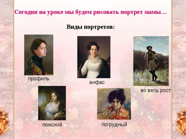Сегодня на уроке мы будем рисовать портрет мамы… Виды портретов: