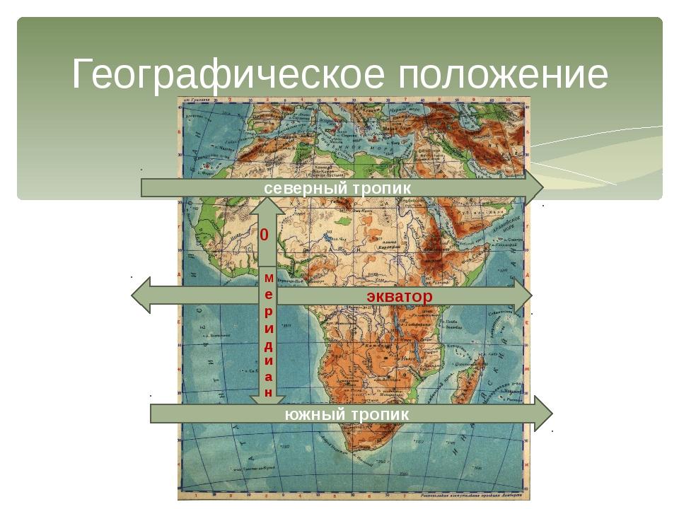 Географическое положение Меридиан 0 экватор северный тропик южный тропик