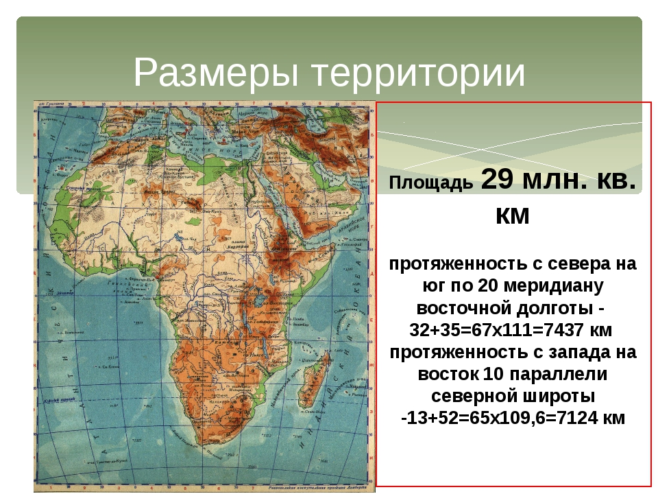 Размеры территории Площадь 29 млн. кв. км протяженность с севера на юг по 20...